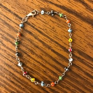 Sterling Silver Evil Eye Bracelet - Fits S/M Wrist
